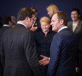 Donald Tusk at the informal EU summit — Stock Photo