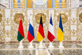 Negotiations of leaders of states in Norman format in Minsk — Stock Photo
