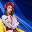 Young girl in the Ukrainian national suit — Stock Photo #70848883