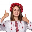 Young girl in the Ukrainian national suit — Stock Photo #70848897