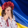 Young girl in the Ukrainian national suit — Stock Photo #70848957