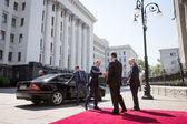 Donald Tusk, Jean-Claude Juncker i Petro Poroszenko — Zdjęcie stockowe
