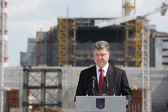 Petro Poroshenko at the Chernobyl nuclear power plant — 图库照片
