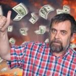 Man tumb up and money rain — Стоковое фото #72848675