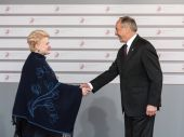 Andris Berzins and Dalia Grybauskaite — Stock Photo