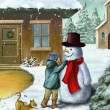 Children and snowman — Stock Photo #57375791