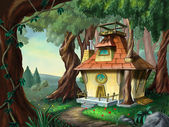 House in the wood — Stock Photo
