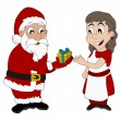 ������, ������: Cartoon of Santa Claus and Mrs Claus