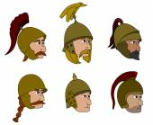 Ancient soldiers faces cartoons — Stock Vector