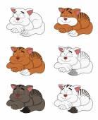 Cute sleeping cartoon cats collection — Stock Vector