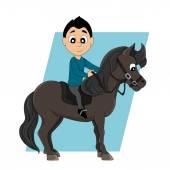 Horseback riding child cartoon — Stock Vector