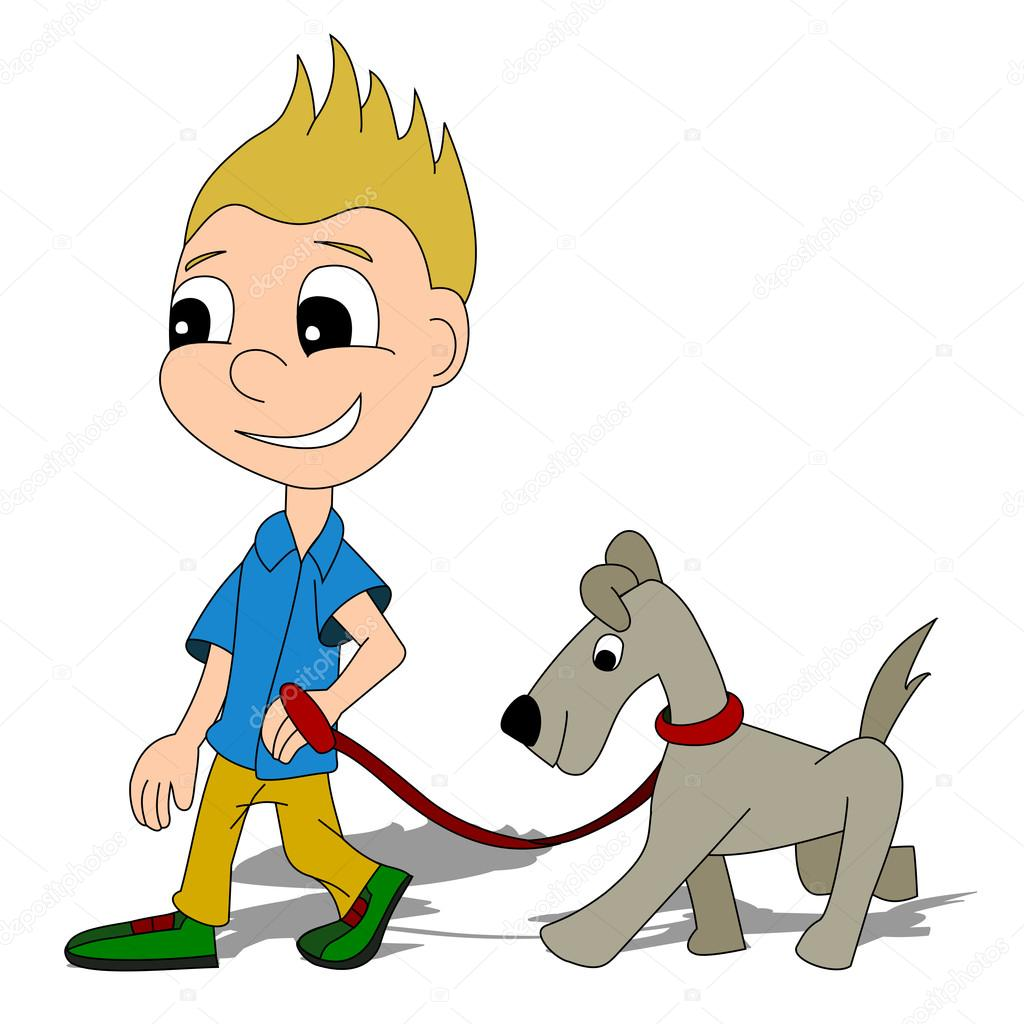 Garçon de dessin animé avec un chien — Image vectorielle ...