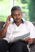 Indian male on phone — Stock Photo