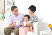Asian grand father with grand daugther — Stock Photo