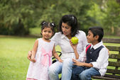 Indian family outdoor eating — Stok fotoğraf