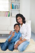 Indian mother and son bonding — Stock Photo