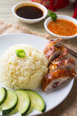 Chicken rice. — Stock Photo