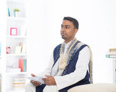 Indian male with  tablet computer — Stock Photo