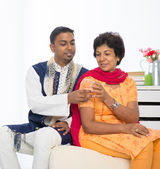 Indian woman with adult son — Stock Photo