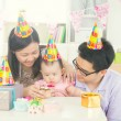 Parents with baby during birthday — Stock Photo #67770653