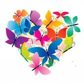 Butterflies colorful heart — Stock Photo