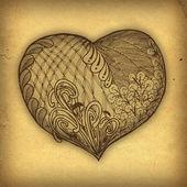 Zentangle brown heart illustration — Stock Photo