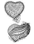 Zentangle hearts black doodle — Stock Vector