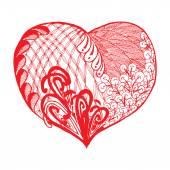 Zentangle red heart — Stock Vector