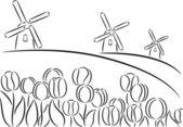 Mulino a vento e tulipani — Vettoriale Stock