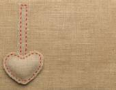 Heart Shape Sackcloth Sewing Object. Mended Burlap Background. Valentine Day Burlap or Wedding Love concept. — Stock Photo