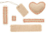 Sackcloth Heart Shape Patch Tag Label Object with Stitches Seam, Burlap Isolated over White Background — Stock Photo