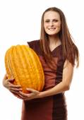Woman with pumpkins — Stock Photo