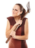 Crazy girl with axe — Foto Stock