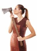 Crazy girl with axe — Photo