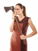 Crazy girl with axe — Stockfoto