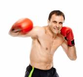 Kickbox fighter executing a punch — Stock Photo