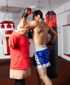 Muay thai elbow hit on mannequin — Foto de Stock