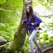 Hiker lady with backpack on trail — Stock Photo #53491117