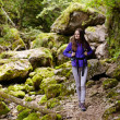 Hiker lady with backpack on trail — Stock Photo #53491133
