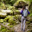 Hiker lady with backpack on trail — Stock Photo #53491159