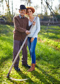Old farmer and his daughter — Stock Photo