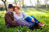 Old farmer and daughter — Stock Photo