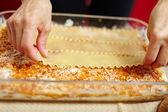 Lasagna cooking process — Stock Photo