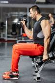 Man doing biceps workout in a gym — Stockfoto