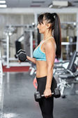 Fitness girl doing biceps workout — Stock Photo