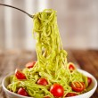 Pasta recipe with avocado and tomatoes — Stock Photo #62845557
