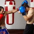 Kickbox fighters sparring in the gym — Stock Photo #63392241