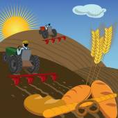 Farmers plowing the land with tractors — Stock Vector