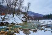 Mountain river on wintertime — Stock Photo