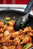 Asian caramel chicken wings — Stock Photo